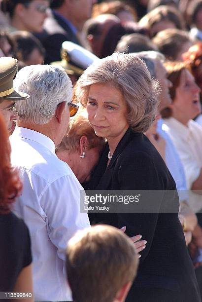 Queen Sofia Crown Prince Felipe consoles relatives of the victims
