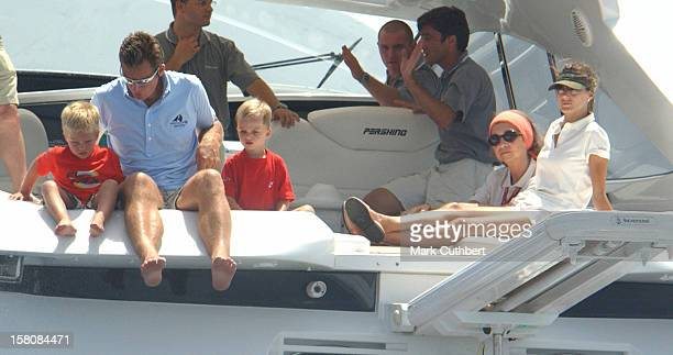 Queen Sofia Crown Princess Letizia Inaki Urdangarin Of Spain At The 2004 Copa Del Rey Regatta In Palma De Mallorca