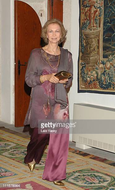 Queen Sofia during Spanish Royals attend the Traditional Summer Holidays End Dinner at Almudaina Palace in Palma de Mallorca Balearic Islands Spain