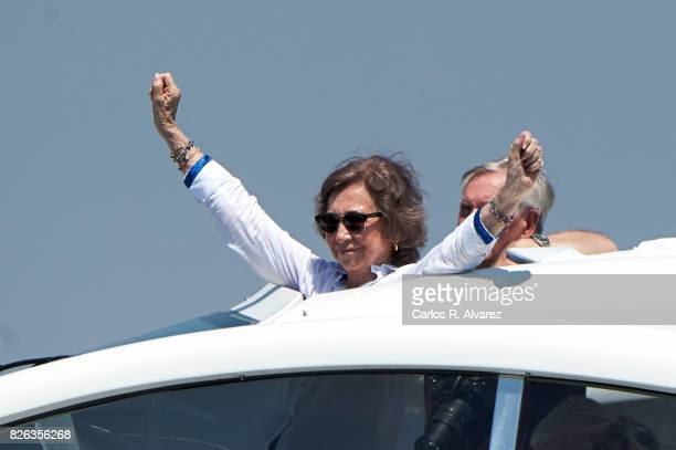 Queen Sofia is seen on board of Somni during the 36th Copa Del Rey Mafre Sailing Cup on August 4 2017 in Palma de Mallorca Spain