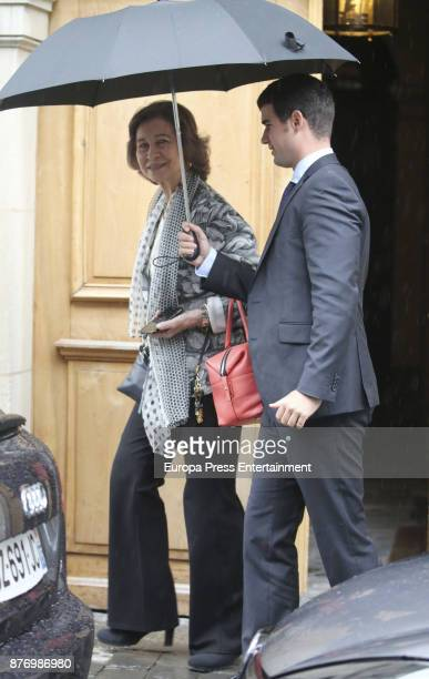 Queen Sofia is seen visiting Juan Valentin Urdangarin for his 18th birthday on September 30 2017 in Geneva Switzerland