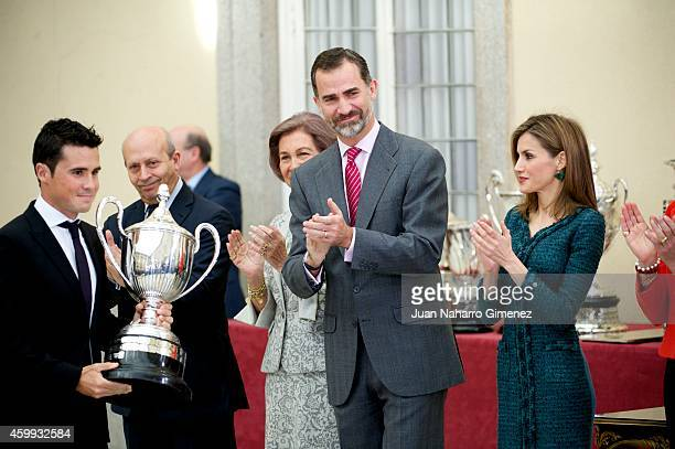 Queen Sofia King Felipe VI of Spain and Queen Letizia of Spain attend National Sport Awards 2013 at Royal Palace of El Pardo on December 4 2014 in...