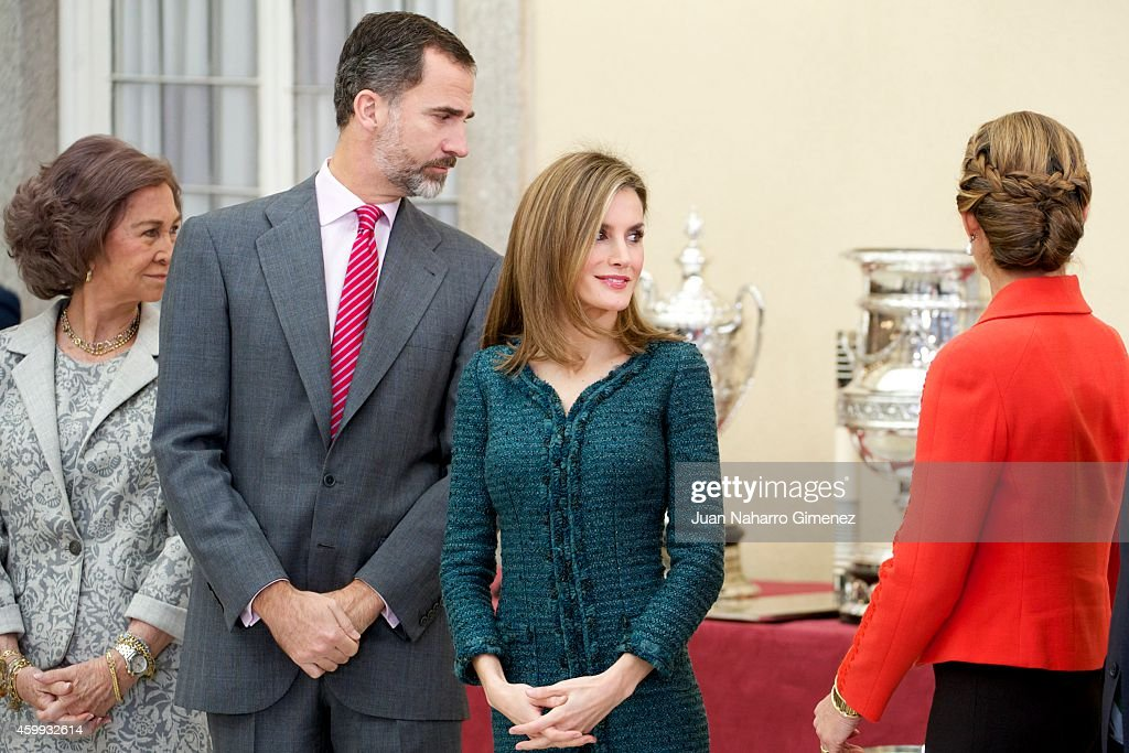 Queen Sofia King Felipe VI of Spain Queen Letizia of Spain and Princess Elena attend National Sport Awards 2013 at Royal Palace of El Pardo on...