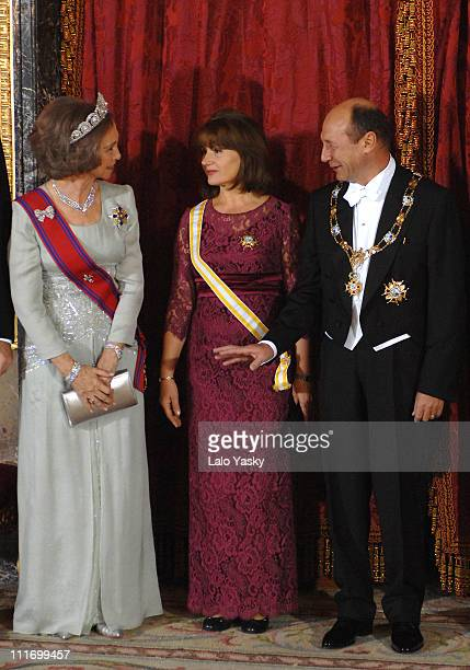 HM Queen Sofia Maria Basescu and Romanian President Traian Basescu pose for photographers during the Gala Dinner in honour of Romanian President and...