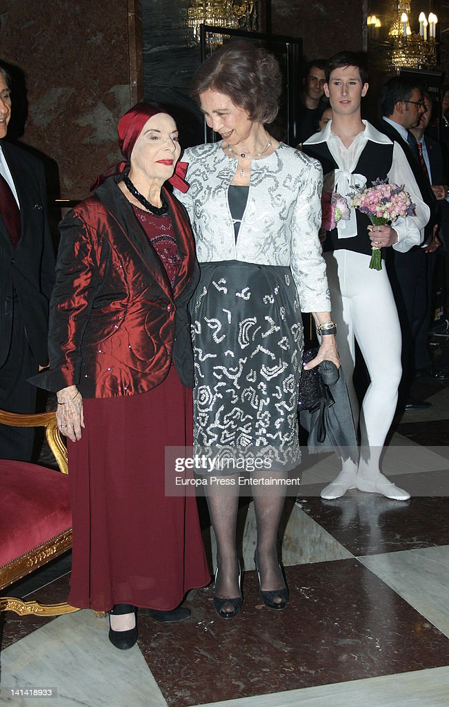 Queen Sofia of Spain and Alicia Alonso attend Alicia Alonso tribute Gala at La Zarzuela Theatre on March 14, 2012 in Madrid, Spain.