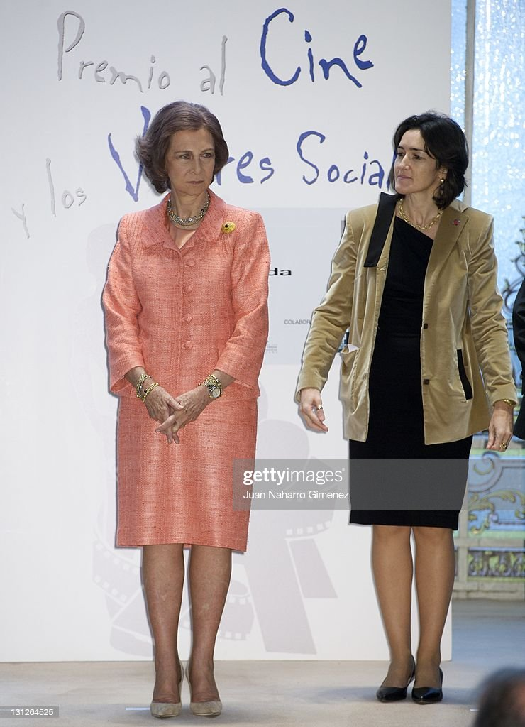 Queen Sofia of Spain and Angeles Gonzalez SInde attend 'Cinema and Social Values Awards' at Casino de Madrid on November 3 2011 in Madrid Spain