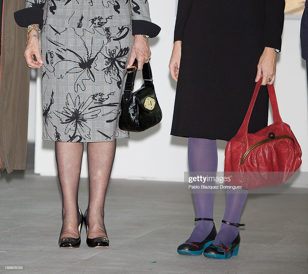 Queen Sofia of Spain and Angeles Gonzalez Sinde attend 'Muntadas Entre / Between' exhibition at Reina Sofia Museum on November 22 2011 in Madrid...
