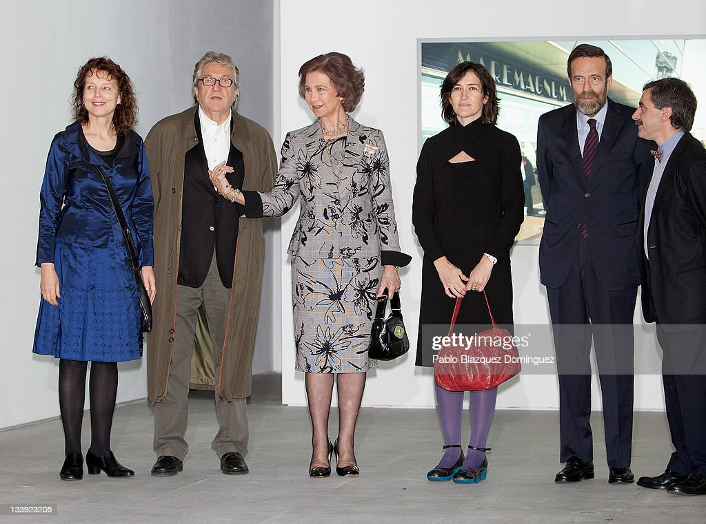 Queen Sofia of Spain and Angeles Gonzalez Sinde attends 'Muntadas Entre / Between' exhibition at Reina Sofia Museum on November 22 2011 in Madrid...