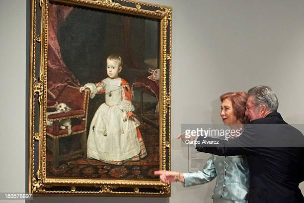 Queen Sofia of Spain and Austrian President Heinz Fischer attend the inauguration of the 'Velazquez Y La Familia de Felipe IV' exhibition at the El...