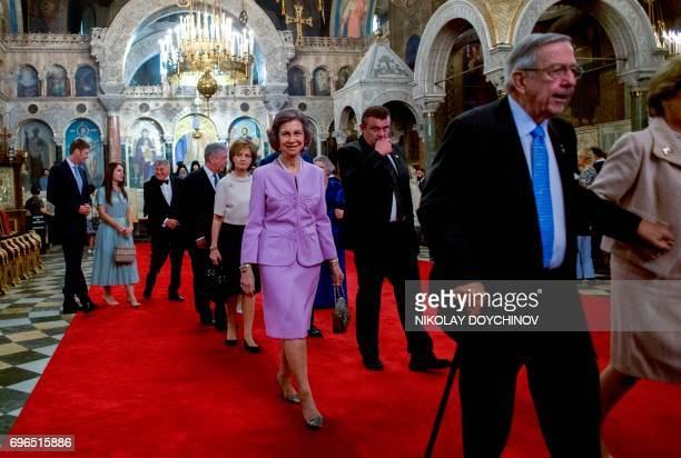 Queen Sofia of Spain and former King Constantine of Greece leave after a mass to celebrate the 80th birthday of the Bulgaria's exKing and former...