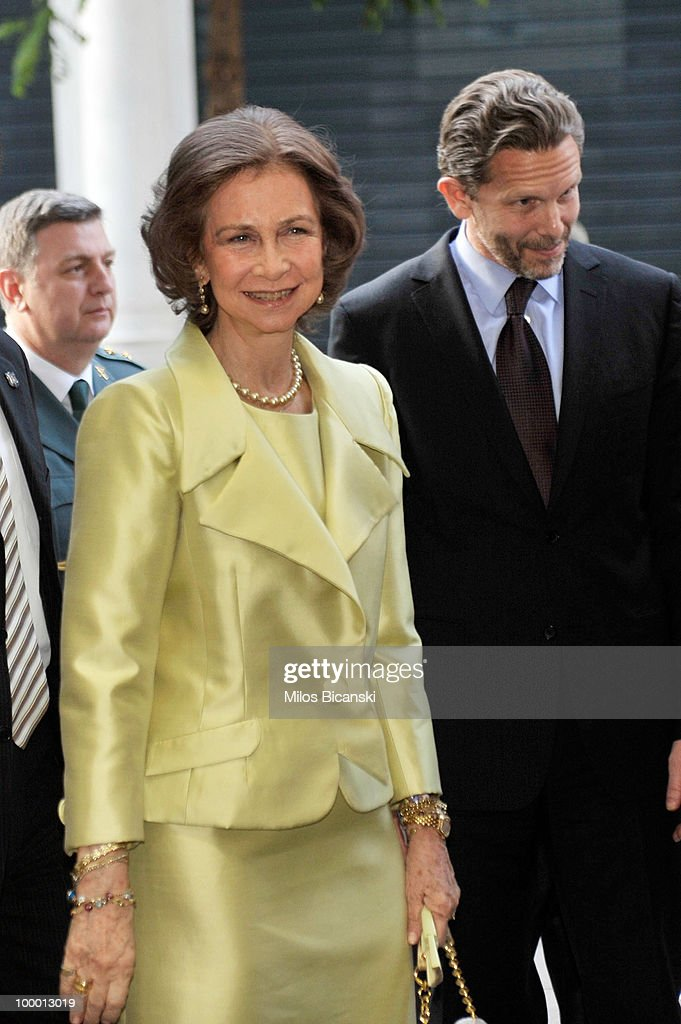 Queen Sofia of Spain and Greek Culture Minister Pavlos Geroulanos visit the new building of the Cervantes Institute in central Athens, on May 19, 2010 in Athens, Greece. The Cervantes Institute was created to promote the Spanish language and culture. Queen Sofia was visiting the Institute during a two-day visit in Greece.