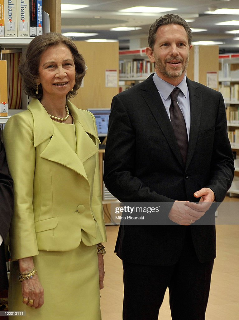 Queen Sofia of Spain and Greek Culture Minister Pavlos Geroulanos visit the library as the Queen inaugurates the new building of the Cervantes Institute in central Athens, on May 19, 2010 in Athens, Greece. The Cervantes Institute was created to promote the Spanish language and culture. Queen Sofia was visiting the Institute during a two-day visit in Greece.