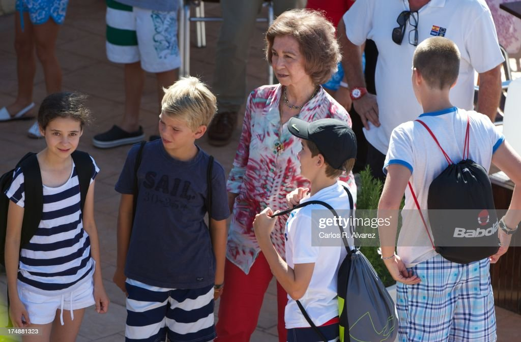 Queen Sofia of Spain (C) and her grandsons (L-R) <a gi-track='captionPersonalityLinkClicked' href=/galleries/search?phrase=Victoria+Federica&family=editorial&specificpeople=1100859 ng-click='$event.stopPropagation()'>Victoria Federica</a> Marichalar, Pablo Nicolas Urdangarin, Miguel Urdangarin and Juan Valentin Urdangarin arrive at Calanova Sailing School on July 29, 2013 in Palma de Mallorca, Spain.