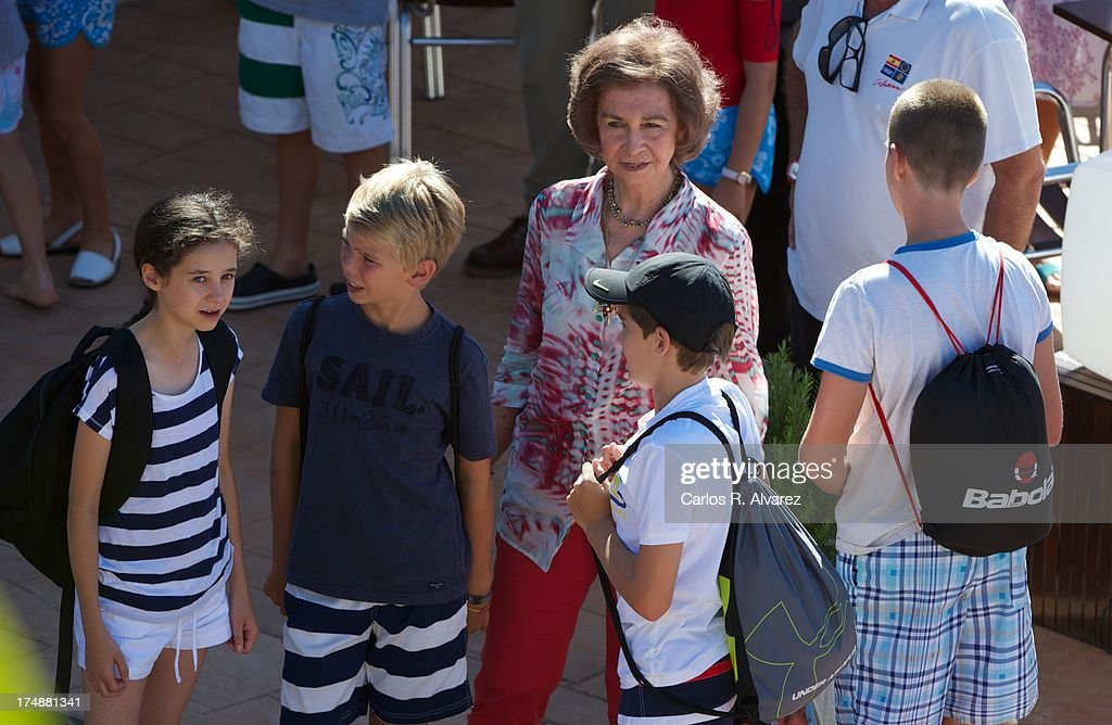 Queen Sofia of Spain (C) and her grandsons (L-R) <a gi-track='captionPersonalityLinkClicked' href=/galleries/search?phrase=Victoria+Federica&family=editorial&specificpeople=1100859 ng-click='$event.stopPropagation()'>Victoria Federica</a> Marichalar, Pablo Nicolas Urdangarin, Miguel Urdangarin and <a gi-track='captionPersonalityLinkClicked' href=/galleries/search?phrase=Juan+Valentin&family=editorial&specificpeople=226584 ng-click='$event.stopPropagation()'>Juan Valentin</a> Urdangarin arrive at Calanova Sailing School on July 29, 2013 in Palma de Mallorca, Spain.