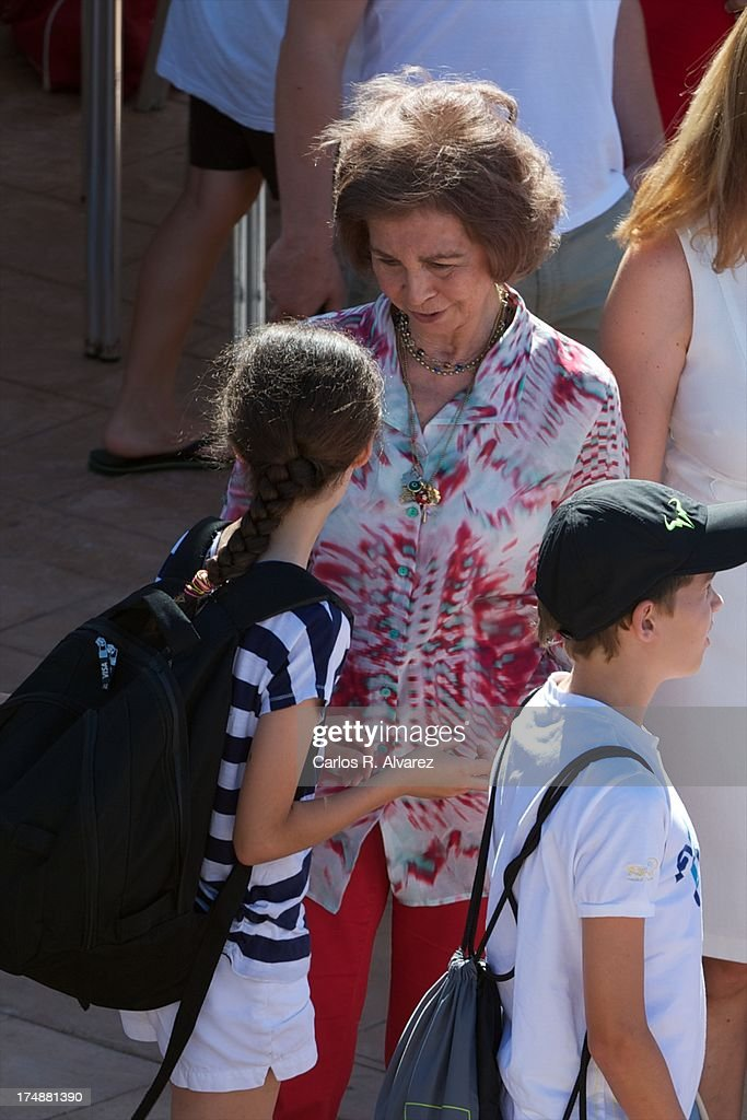 <a gi-track='captionPersonalityLinkClicked' href=/galleries/search?phrase=Queen+Sofia+of+Spain&family=editorial&specificpeople=160333 ng-click='$event.stopPropagation()'>Queen Sofia of Spain</a> (C) and her grandsons (L-R) <a gi-track='captionPersonalityLinkClicked' href=/galleries/search?phrase=Victoria+Federica&family=editorial&specificpeople=1100859 ng-click='$event.stopPropagation()'>Victoria Federica</a> Marichalar and Miguel Urdangarin arrive at Calanova Sailing School on July 29, 2013 in Palma de Mallorca, Spain.
