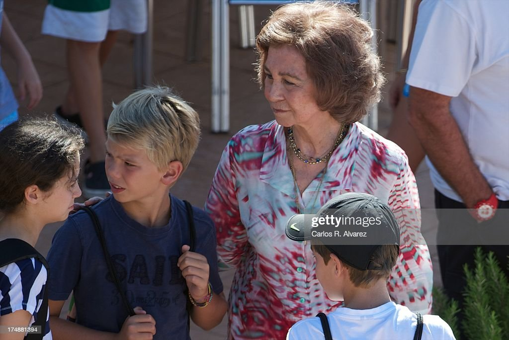 Queen Sofia of Spain (C) and her grandsons (L-R) <a gi-track='captionPersonalityLinkClicked' href=/galleries/search?phrase=Victoria+Federica&family=editorial&specificpeople=1100859 ng-click='$event.stopPropagation()'>Victoria Federica</a> Marichalar, Pablo Nicolas Urdangarin and Miguel Urdangarin arrive at Calanova Sailing School on July 29, 2013 in Palma de Mallorca, Spain.