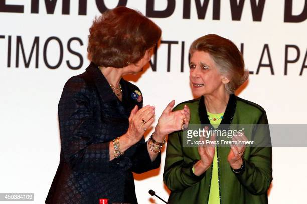 Queen Sofia of Spain and her sister Princess Irene of Greece attend a meeting of 'Escuela Superior de Musica Reina Sofia' on November 13 2013 in...