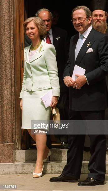 Queen Sofia of Spain And King Constantine of Greece attends the christening of Crown Prince Crown Princess Pavlos of Greece''s son Achileas Andraes...