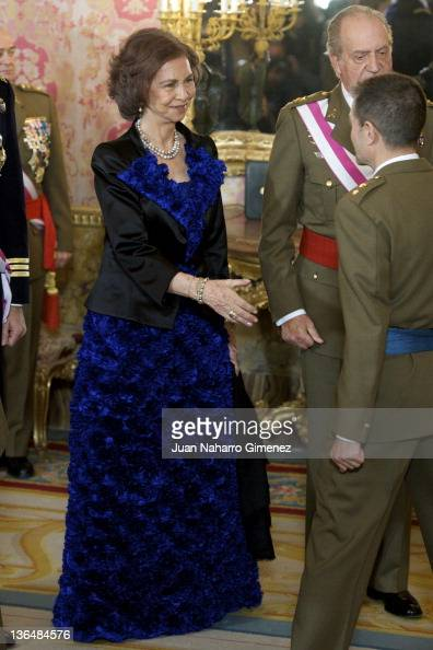Queen Sofia of Spain and King Juan Carlos I of Spain attend the Pascua Militar Ceremony at Palacio Real on January 6 2012 in Madrid Spain