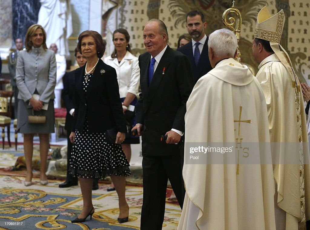 Queen Sofia of Spain and King Juan Carlos of Spain are seen at the Mass commemorating the centenary of the birth of Don Juan de Borbon in the chapel of the Royal Palace in Madrid, Spain on June 20, 2013. The mass was attended by the Prince of Asturias, Spain's Prime Minister Mariano Rajoy, and other senior government officials.
