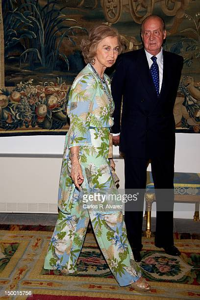 Queen Sofia of Spain and King Juan Carlos of Spain attend official dinner at Almudaina Palace on August 8 2012 in Palma de Mallorca Spain