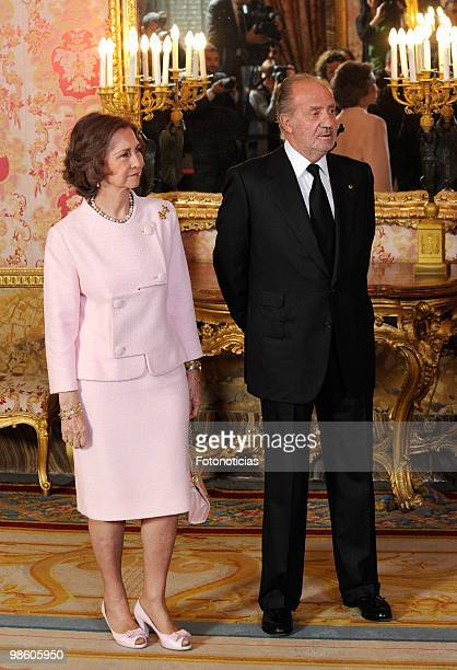 Queen Sofia of Spain and King Juan Carlos of Spain host a literary reception in ocassion of the Cervantes Literary Award at The Royal Palace on April...