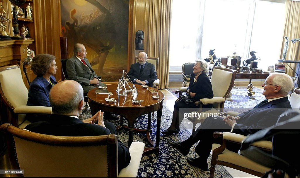Queen Sofia of Spain and King Juan Carlos of Spain welcome Jose Manuel Caballero Bonald, awarded the Cervantes Prize 2012, his wife Pepa Ramis, director of the Institute Cervantes Victor Garcia de la Concha and minister od education, culture and sport Jose Ignacio Wert during an audience granted by the Queen on April 22, 2013 in Madrid, Spain. With this hearing the King has resumed public official activities in the Zarzuela Palace, month and a half after undergoing double hernia surgery.