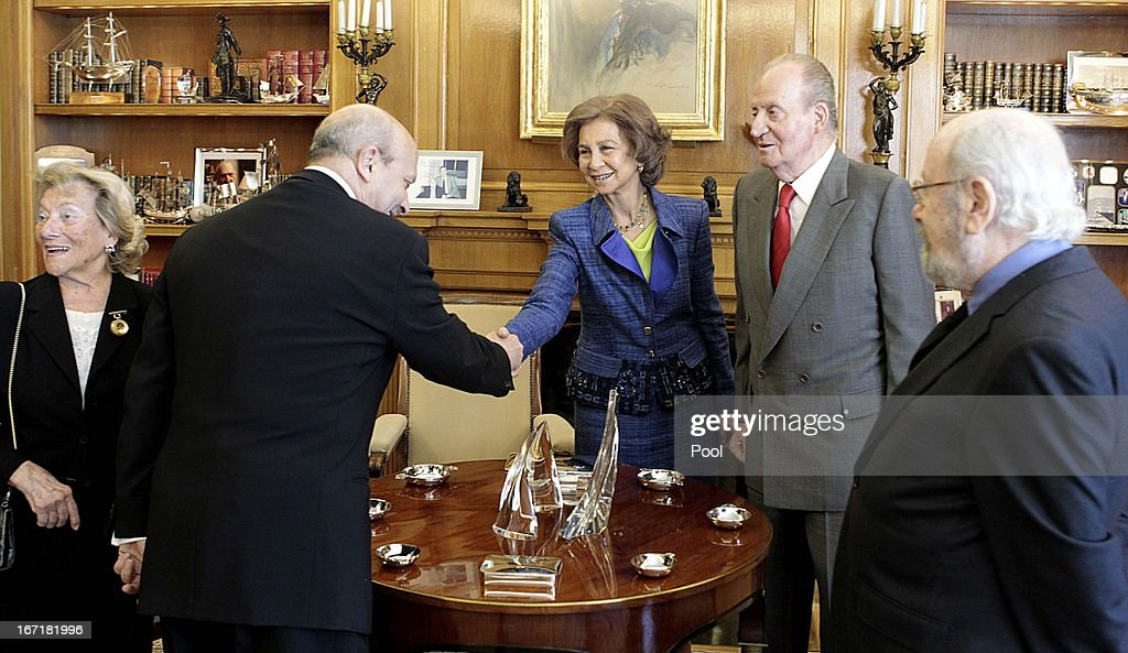 Queen Sofia of Spain and King Juan Carlos of Spain welcome minister od education, culture and sport Jose Ignacio Wert to an audience for Jose Manuel Caballero Bonald (R), awarded the Cervantes Prize 2012, during an audience granted by the Queen on April 22, 2013 in Madrid, Spain. With this hearing the King has resumed public official activities in the Zarzuela Palace, month and a half after undergoing double hernia surgery.