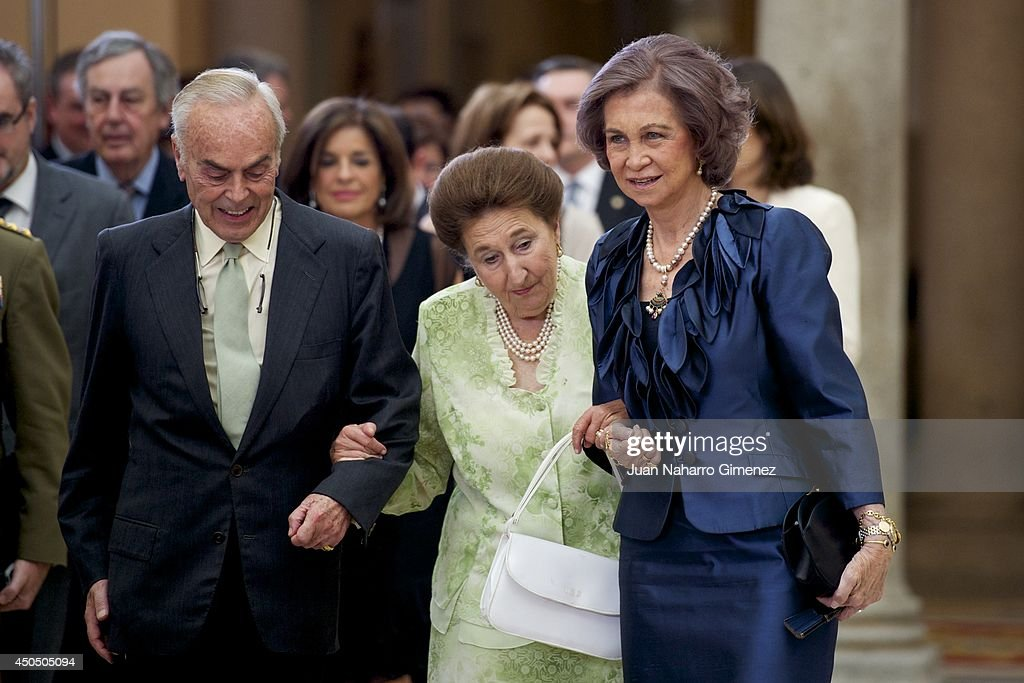 Queen Sofia of Spain and Margarita de Borbon attend closing ceremony of academic year of 'Escuela Superior de Musica Reina Sofia' at Royal Palace of...
