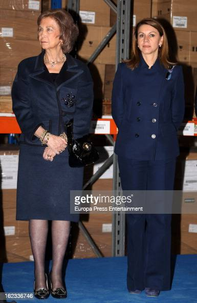 Queen Sofia of Spain and Maria Dolores de Cospedal visit the expansion of Farmavenix headquarters part of Grupo Cofares on February 21 2013 in...