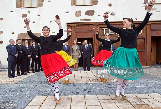 Queen Sofia of Spain and Minister of Education Culture and Sports José Ignacio Wert watch a traditional dance prior to the inauguration of the Royal...