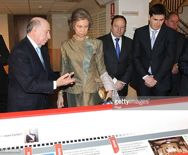 Queen Sofia of Spain and Minister of Education Culture and Sports José Ignacio Wert attend the inauguration of the Royal Cloths Factory of Ezcaray on...