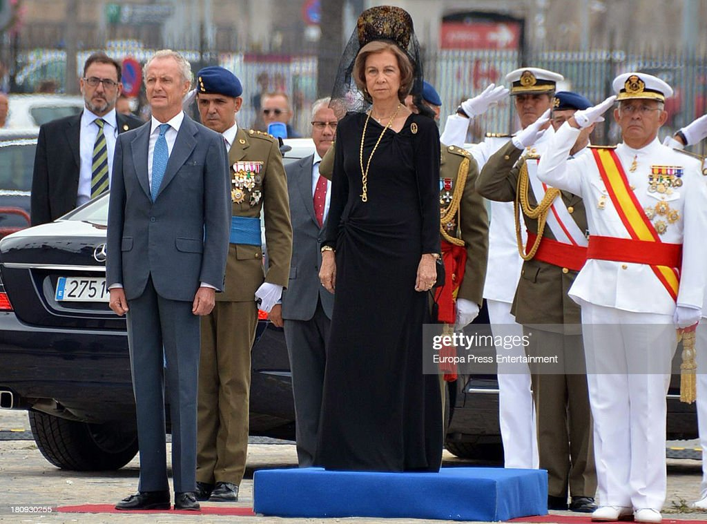 Queen Sofia of Spain and Pedro Morenes (L) attend LHD 'Juan Carlos I' battle flag delivery on September 17, 2013 in Cadiz, Spain.