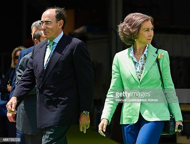 Queen Sofia of Spain and president of Iberdrola energy group Ignacio Sanchez Galan attend the Presentation of the Spanish Paralympic Sailing Team...