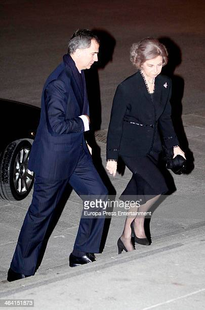 Queen Sofia of Spain and Prince Felipe of Spain attend the funeral for Princess Of The Two Sicilies Margarita Bourbon and Lubomirska at Almudena...