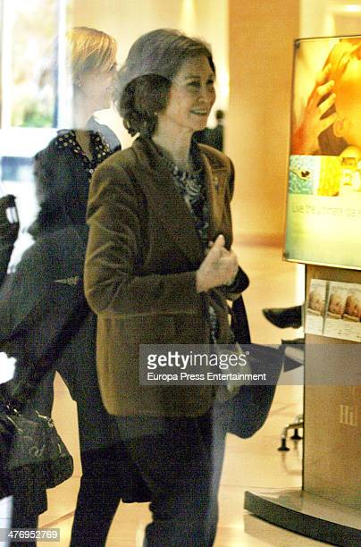 Queen Sofia of Spain and Princess Cristina of Spain at hotel on March 5 2014 in Athens Greece