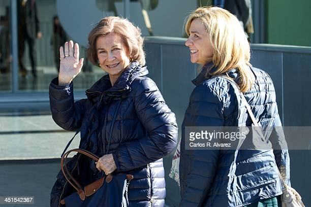 Queen Sofia of Spain and Princess Cristina of Spain visit King Juan Carlos of Spain at the Quiron University Hospital on November 23 2013 in Pozuelo...