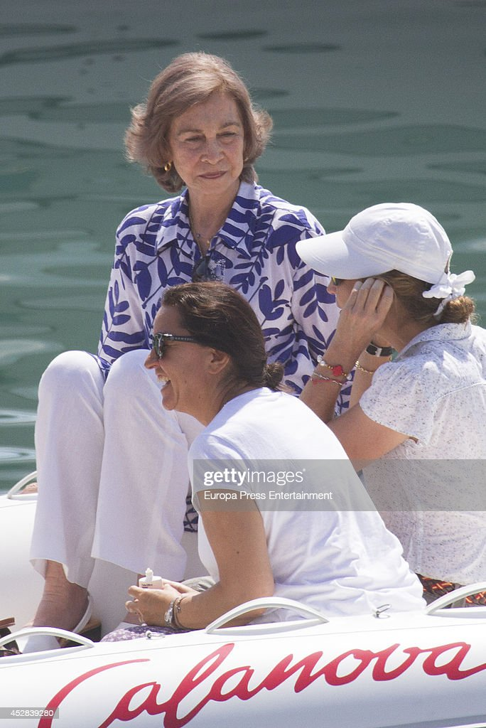 Queen Sofia of Spain and Princess Elena of Spain are seen on July 28 2014 in Palma de Mallorca Spain