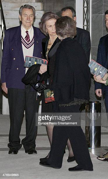 Queen Sofia of Spain and Princess Irene of Greece attend a screening of a documentary about King Paul I of Greece on March 5 2014 in Athens Greece