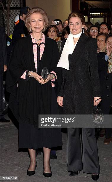 Queen Sofia of Spain and Princess Letizia attend the Julio Bocca Pas de Deux Ballet Function at Theatre Albeniz on January 24 2006 in Madrid Spain
