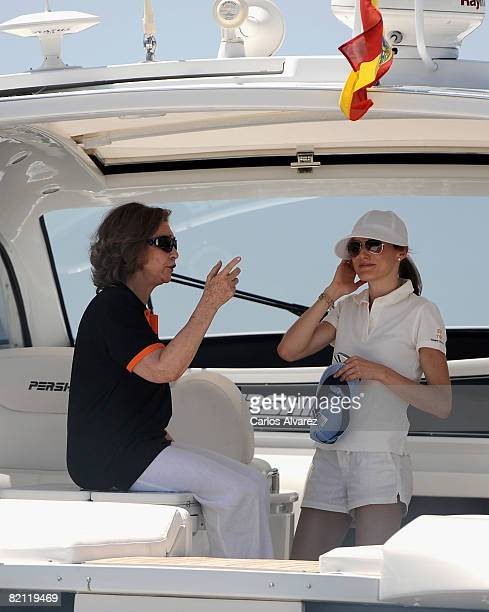 Queen Sofia of Spain and Princess Letizia of Spain on board the yacht 'Somni' during the 27th Copa del Rey Mapfre Audi Sailing Cup on July 30 2008 in...