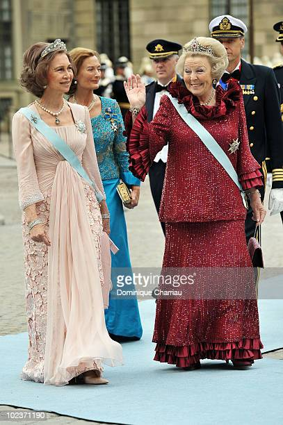 Queen Sofia of Spain and Queen Beatrix of the Netherlands attend the wedding of Crown Princess Victoria of Sweden and Daniel Westling on June 19 2010...