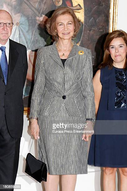 Queen Sofia of Spain and Soraya Saenz de Santamaria attend the opening of the painting exhibition 'De El Bosco a Tiziano Arte y maravilla en El...