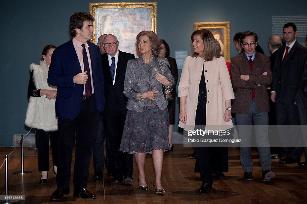 <a gi-track='captionPersonalityLinkClicked' href=/galleries/search?phrase=Queen+Sofia+of+Spain&family=editorial&specificpeople=160333 ng-click='$event.stopPropagation()'>Queen Sofia of Spain</a> and Spain's Minister of Employment and Social security Maria <a gi-track='captionPersonalityLinkClicked' href=/galleries/search?phrase=Fatima+Banez&family=editorial&specificpeople=8764943 ng-click='$event.stopPropagation()'>Fatima Banez</a> Garcia attend 'El Joven Van Dyck' exhibition at the Prado Museum on November 19, 2012 in Madrid, Spain.