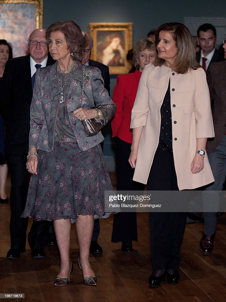 Queen Sofia of Spain and Spain's Minister of Employment and Social security Maria <a gi-track='captionPersonalityLinkClicked' href=/galleries/search?phrase=Fatima+Banez&family=editorial&specificpeople=8764943 ng-click='$event.stopPropagation()'>Fatima Banez</a> Garcia attend 'El Joven Van Dyck' exhibition at the Prado Museum on November 19, 2012 in Madrid, Spain.