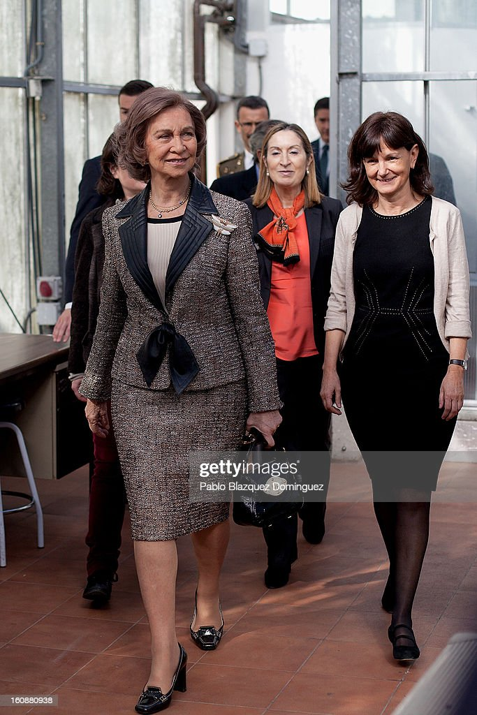 Queen Sofia of Spain and Spain's Public Works Minister Ana Pastor visit the National Biotechnology Centre on February 7, 2013 in Madrid, Spain.