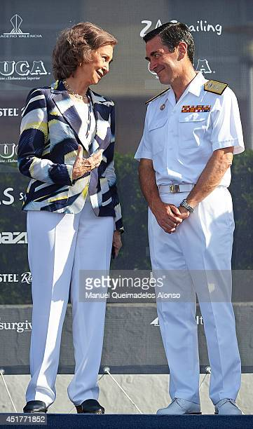 Queen Sofia of Spain and Spanish Navy Admiral Jose Antonio Ruesta attend the XVI Trofeo SM La Reina Ceremony Awards at on July 6 2014 in Valencia...
