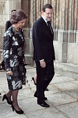 Queen Sofia of Spain and spanish president Mariano Rajoy attend 'Requiem' by Verdi at Toledo Cathedra on April 12 2014 in Toledo Spain