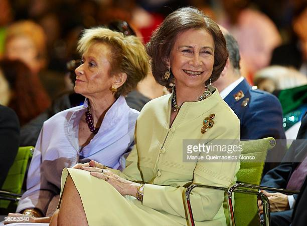 Queen Sofia of Spain and Spanish Vice President Maria Teresa Fernandez de la Vega attend the opening of the twoday conference on 'Spanish and African...
