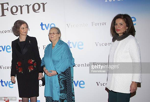 Queen Sofia of Spain Anne Perry and Ana Botella attend 'Vicente Ferrer' Tv Movie presentation at Callao City Lights on January 8 2014 in Madrid Spain